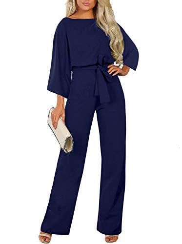 HAPPY SAILED Damen Langarm O-Ausschnitt Elegant Lang Jumpsuit Overall Hosenanzug Playsuit Romper S-XL (M, 3Blau)