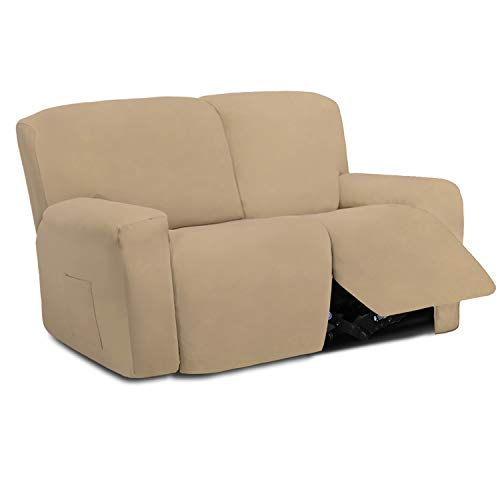 Easy-Going 6 Pieces Microfiber Stretch Sectional Recliner Sofa Slipcover Soft Fitted Fleece 2 Seats Couch Cover Washable Furniture Protector with Elasticity for Pet(Recliner Loveseat, Pale Yellow)