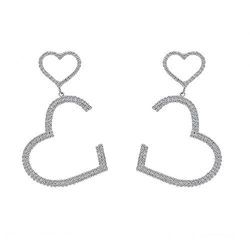Pendientes plateados para mujer, joyas plateadas, bonito regalo para mujeres con corazones plateados