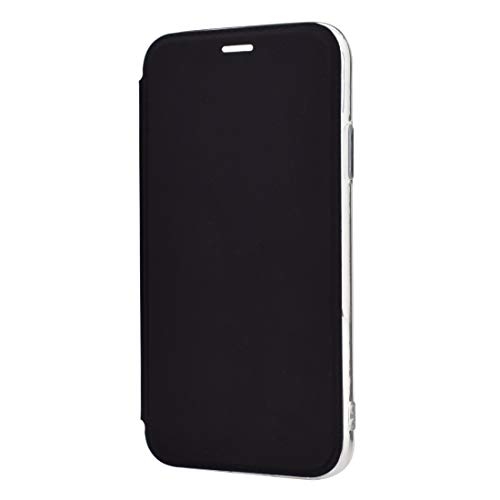 HULDORO Encantador -Solid Color Liso PU + TPU Mirror Funda de Cuero para iPhone 11 Pro MAX (Negro) Carcasa de telefono (Color : Black)