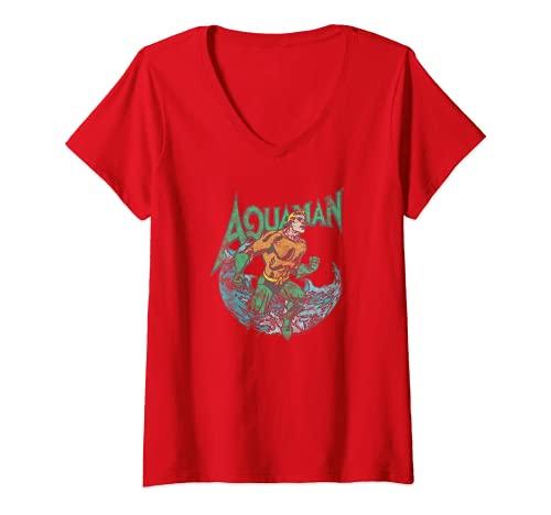 Mujer Aquaman Marco Camiseta Cuello V