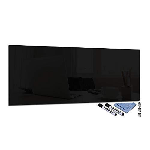 Pizarra magnética de cristal de 30 x 80 cm, tablón de anuncios para pared con accesorios, pizarra blanca, cocina, oficina, negro
