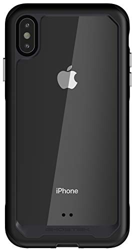 Ghostek Atomic Slim iPhone Xs Max Clear Case with Space Metal Frame Super Heavy Duty Protection Shockproof Military Grade Aluminum Wireless Charging Compatible - 2018 iPhone Xs Max (6.5 Inch) - Black