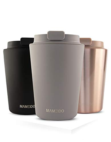 MAMEIDO Thermobecher Edelstahl isoliert 350ml Taupe Grey - Kaffeebecher to go, auslaufsicher, Coffee to go Becher
