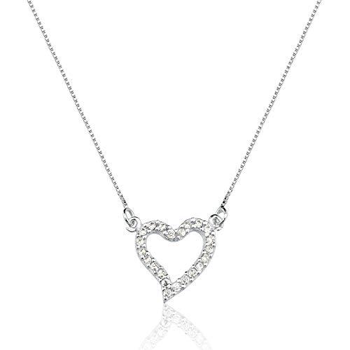 Colar de Prata Coração Reluzente Prata Rara (Branco)