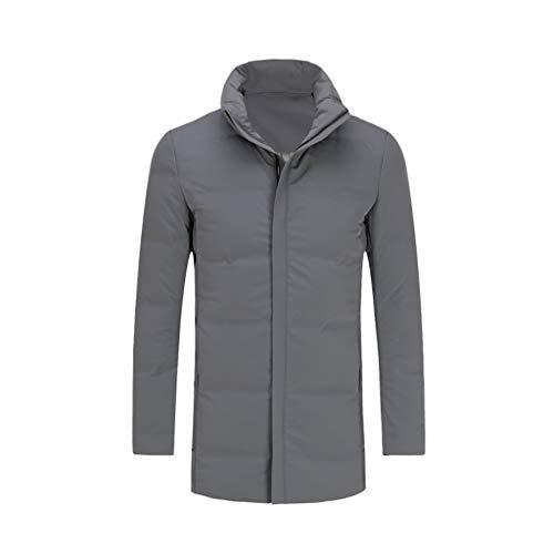 Chaqueta de plumón para hombre, cálida y cálida, para adultos y estudiantes, color negro y gris grueso (color: gris, tamaño: mediano)
