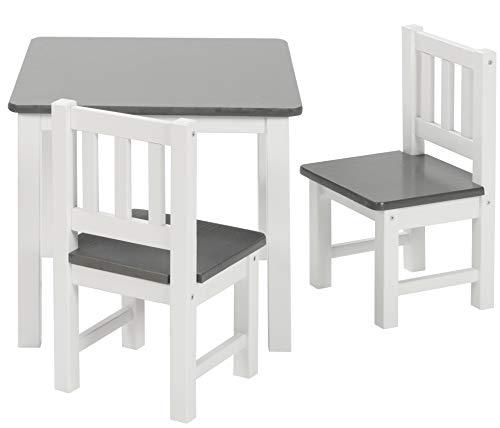 BOMI Holzsitzgruppe für Kinder Amy aus Kiefer Massiv Holz | bis 180 KG belastbar | für...