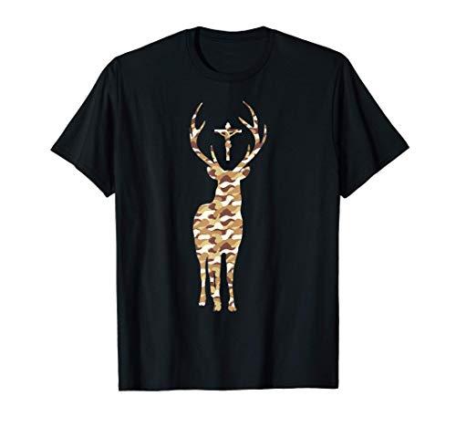 Hubert Hubertus Patrón de los cazadores Stag Camo Catholic Camiseta