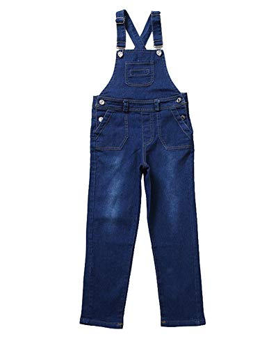 Kinder Mädchen Latzhose Denim Freizeithosen Jeans Jumpsuit Lang Overall Blau 130CM