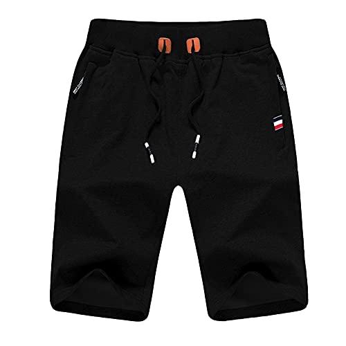 Magritta Men's Shorts Casual Elastic Waist Drawstring Workout Gym Shorts for Exercise Summer Black 2XL