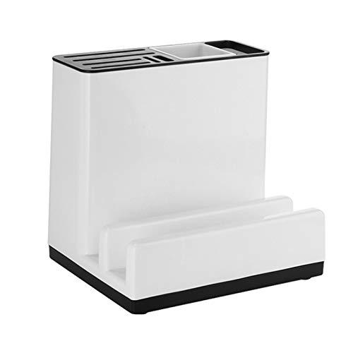 AMAZOM Küchenutensilienhalter Kunststoffmesserblock Mit Ablaufbrett Geschirr Schneidebrett Lagerregal Regal Organizer