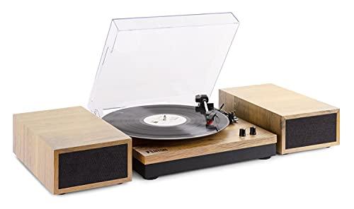 Fenton RP165L - Platine Vinyle avec 2 Haut-parleurs intégrés – Bois Clair, Technologie Bluetooth, 3 Vitesses de disques 33 ⅓, 45 et 78 Tours, Design Simple et élégant