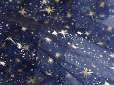 Mc-Stoff Organza dunkelblau Meterware Sternenhimmel Bedruckt Sterne