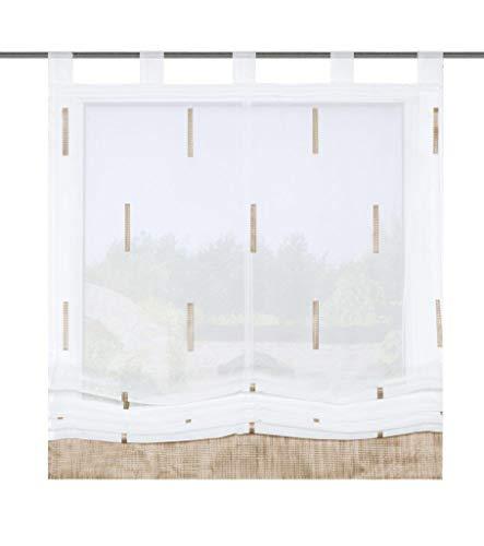 HOME WOHNIDEEN Raffrollo Felicity, Effektvoile mit Scherli, mit Schlaufen, Farbe: Natur, Größe: (140 x 80 cm) (140 x 80 cm)
