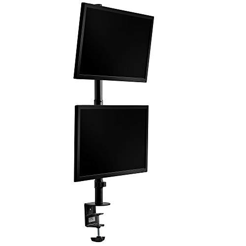 VonHaus Doppelmonitorhalterung Vertikal - Stapelbar/Zweifach-Bildschirmhalterung/Klemme/Halterung - Neigbar, Schwenkbar und Drehbar für Schreibtisch/Desktop/Tisch/Arbeitsplatz
