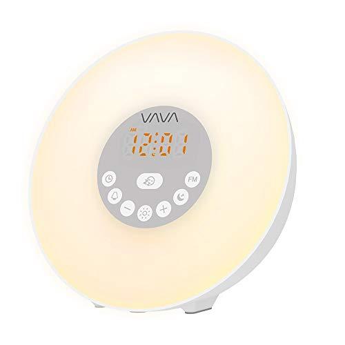 Vava Lichtwekker Wake Up Light 6W zonsopgang zonsondergang simulatie wekker met 7 gekleurde LED-lampen 6 alarmtonen 10 helderheidsniveaus en FM-radio voor volwassenen en kinderen