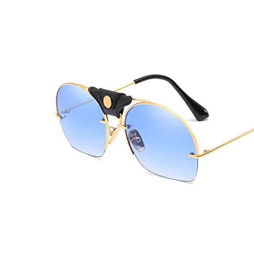 DSFHKUYB Gafas de Sol Polarizadas para Mujer, Montura Metálica, Cortinas Clásicas para Conducir Ciclismo Pesca,Azul