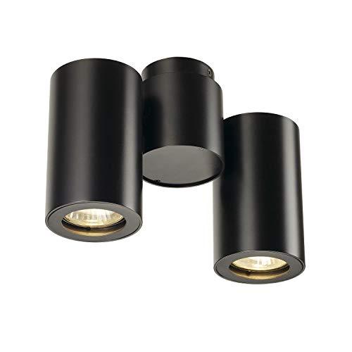 SLV LED Strahler ENOLA_B dreh- und schwenkbar | Dimmbare Wand- und Deckenleuchte zur Beleuchtung innen | LED Spot, Deckenfluter, Deckenstrahler, Decken-Lampen, Wand-Lampe | 2-flammig, GU10, EEK E-A++