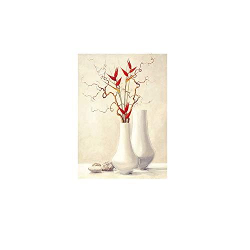 NBHHDH Impression sur Toile Fleur Peinture À l'huile Nordique Affiche Toile Peinture Mur Art Imprimer Aquarelle Mur Photos pour Le Décor De Salon No Frame, 50 × 70Cm No Frame