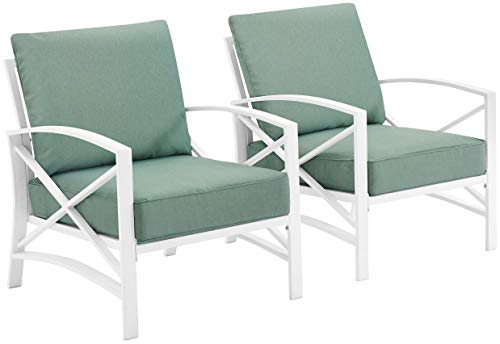 Crosley Furniture KO60013WH-MI Kaplan Outdoor Metal Arm Chairs, White with Mist Cushions