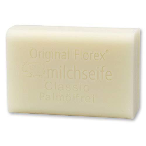 Florex Schafmilchseife - Classic ohne Palmöl- mit Lanolin und pflanzlichen Ölen zarter Seifen Duft 100 g
