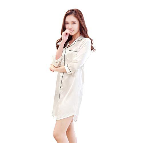 LXDWJ Camisa sólida camisón Ropa de Dormir para Mujer Autumn Pijamas Gran tamaño Nightdress Summer Summer (Color : A, Size : Medium)
