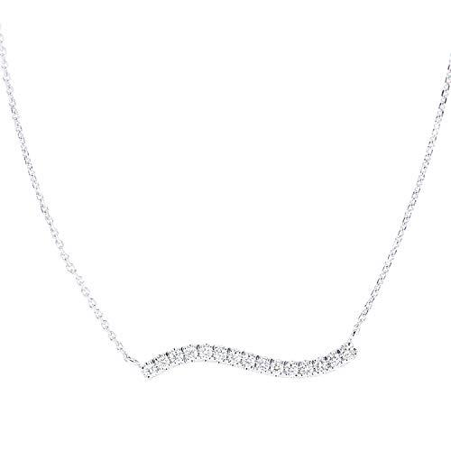 Naava Women 9ct (375) White Diamond Pendant Necklace of Length 46cm PNE20037W