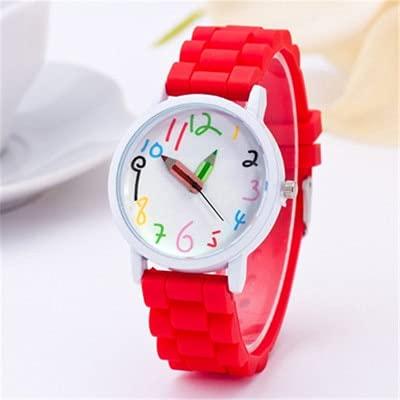 Msltely Relojes de Pulsera Moda Unisex Estudiante Ver Silicone Correa Analógica Reloj de Pulsera de Cuarzo Navidad Niños Marca Chicas Boy Sport Reloj Linda Dibujos Animados Regalo (Color : 1pc Red)