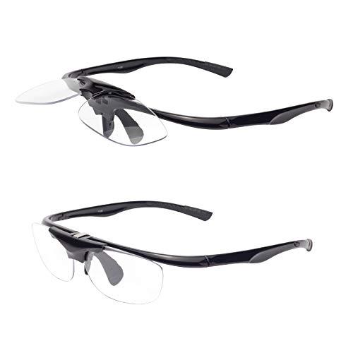 跳ね上げ式老眼鏡 携帯用 ケース付き ユニセックス メンズ レディース おしゃれ リーディンググラス 遠近両用 度付き L3806 ブラック 度数+300