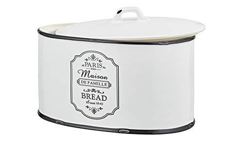 Brotkasten Keramik Weiß Schwarz Oval Brotdose für Brot mit Deckel Brotbox Brotkiste Küchenbox