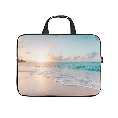 Facbalaign Borsa per laptop al tramonto hawaiano, impermeabile, morbida, resistente all'usura, con manico, bianco, 13 pollici,