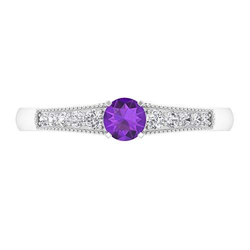 Anillo solitario de corte redondo de 4 mm, anillo de diamante HI-SI, anillo milgrain de oro 14K Oro blanco