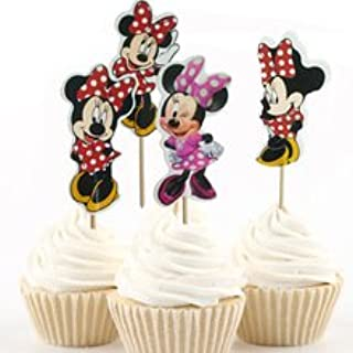 Disney Minnie Mouse Dessert Muffin Cupcake Toppers for Baby Shower Birthday Party (Pack of 24)