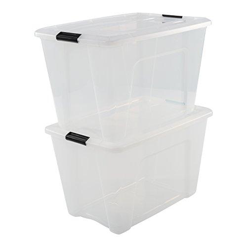 Iris Ohyama 2er-Set, Aufbewahrungsboxen, 60 L, mit Clips, stapelbar, Wohnzimmer, Schlafzimmer, Garage - New Top Box NTB-60 - Transparent