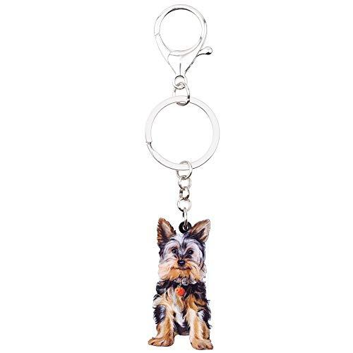 DFGSDFB SchlüsselbundAcryl Sweet Yorkshire Terrier Hund Schlüsselanhänger Schlüsselanhänger Geschenk Für Frauen Mädchen Weiblich Halter Charms Trendy Animal Jewelry