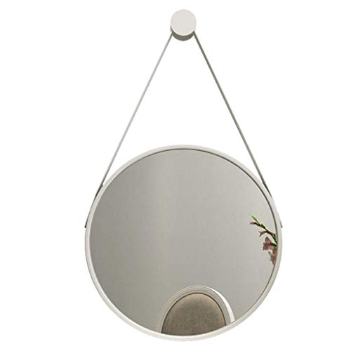 ZRABCD Espejo, Baño, Montaje en la Pared, Tocador, Espejo de Baño de Pared Nórdico - Vestidor, Espejo de Maquillaje Redondo - Espejo de Espejo de Dormitorio Espejo,Blanco,30 Centimetros