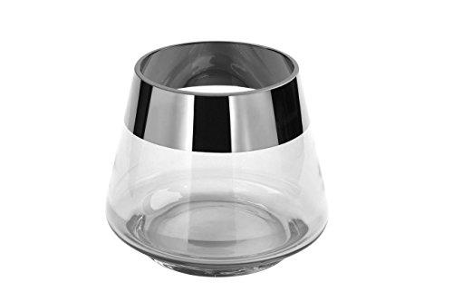 Fink - Teelichthalter, Windlicht, Kerzenleuchter - Jona - Glas - Silber - Höhe 9 cm - Ø 11 cm