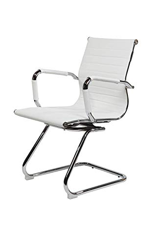 EVRE Office Boardroom Desk Chair Chrome Frame Finish with PU Leather - White
