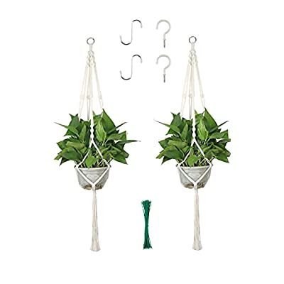 JSHKY Premium Macrame Plant Hangers for Indoor and Outdoor(2Pcs), Plant Holder, Hanging Planter for Home Decoration, Size: 42 Inch, Color: White