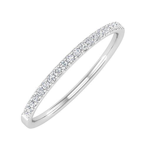 1/10 Carat (ctw) 10K White Gold Diamond Ladies Wedding Anniversary Stackable Ring (Ring Size 6.5)