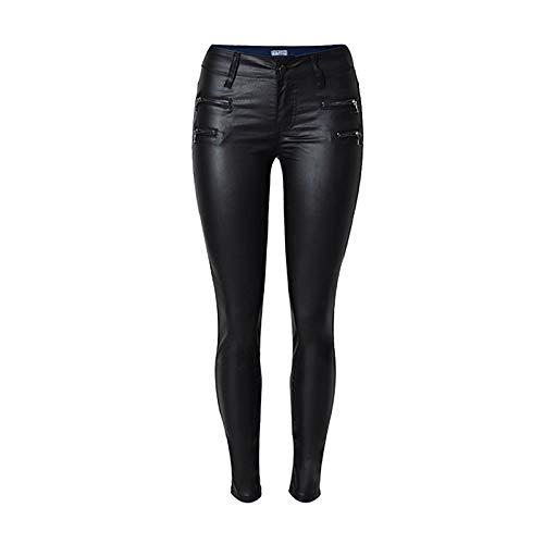 NOBRAND Mujeres de Cintura Baja, pies Delgados, Pantalones de Cuero de PU, Cremallera Doble, Pantalones Vaqueros Negros, Pantalones de Alta Costura, Jeans Casuales de Moda