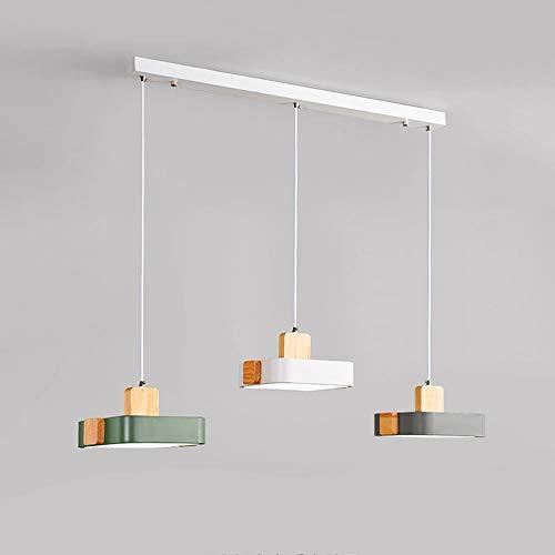 Siet 3-Light LED Colgante Luces de Techo 36W Lámpara Colgante, lámparas de suspensión de Madera de Metal de araña nórdica para Comedor Restaurante de Sala de Estar, Lámpara de acrílico Droplight