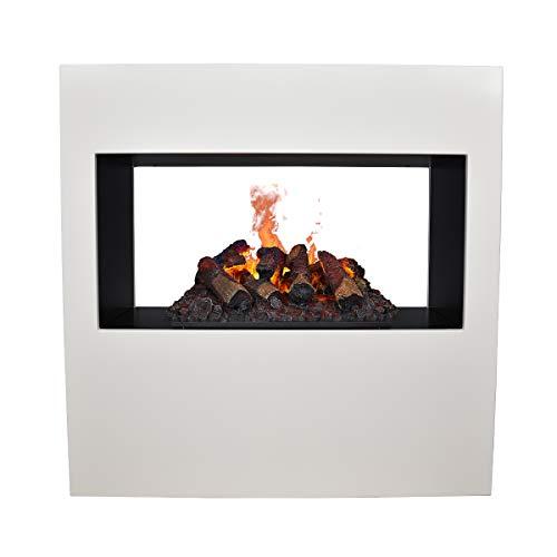 GLOW FIRE Goethe Elektrokamin Opti Myst 3D Wasserdampf Feuer, elektrischer Raumteiler Standkamin mit Fernbedienung, Tunnel Kamin | Regelbarer Flammeneffekt, 100 cm, Weiß (OMC 600)