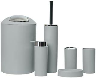 GMMH Lot de 6 accessoires de salle de bain avec distributeur de savon, brosse WC et brosse WC Gris clair Design 2a
