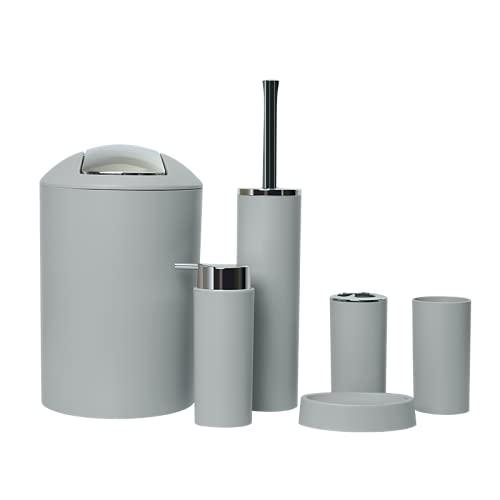 GMMH – Set di 6 accessori da bagno, con dispenser per sapone, porta saponetta e scopino per WC (modello 2a, grigio chiaro)