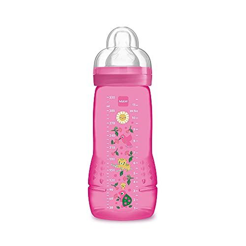 MAM Easy Active Baby Bottle 330 ml Biberon ergonomique facile à saisir, grand biberon d'apprentissage, tétine MAM non 3 en silicone et couvercle anti-goutte, 4 mois + rose