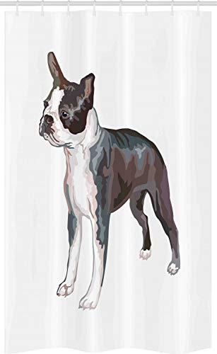 ABAKUHAUS Boston terrier Douchegordijn, Portret van het profiel, voor Douchecabine Stoffen Badkamer Decoratie Set met Ophangringen, 120 x 180 cm, Veelkleurig