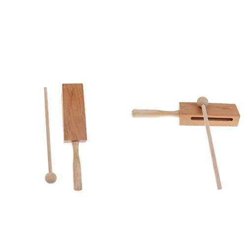 Unbekannt 2 x Percussion Holzblock, Kinder Musikinstrumente Musical Spielzeug Percussion Schlagzeug Schlagwerk