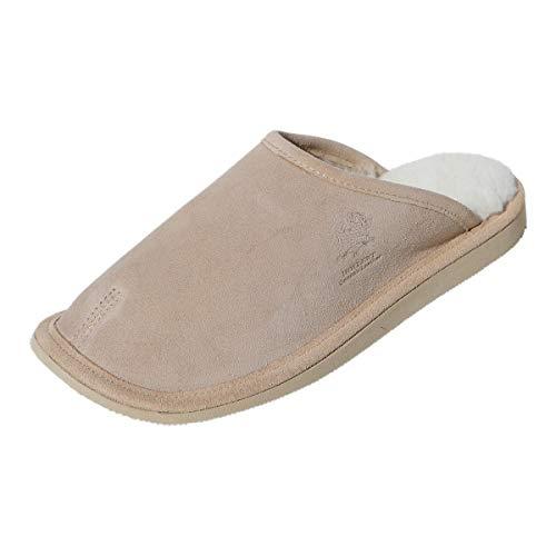 Hollert Herren Lammfell Hausschuhe Olaf Pantoffeln Puschen Echtleder & Merino Schaffell kuschelig warm rutschfest Schuhgröße EUR 42, Farbe Beige/Weiß