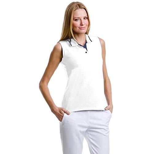 Gamergear® Damen Poloshirt, ärmellos (40) (Weiß/Marineblau)